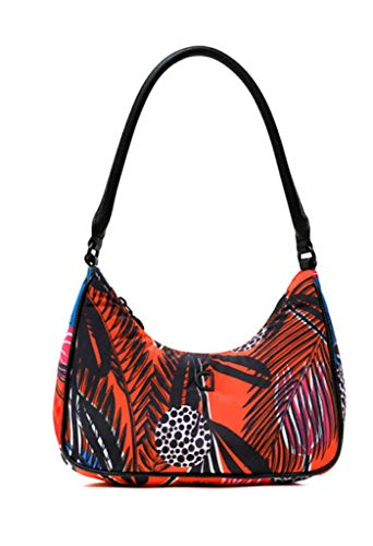 Desigual Fabric Shoulder Bag, Borsa a Tracolla. Donna, Colore: Arancione, Medium