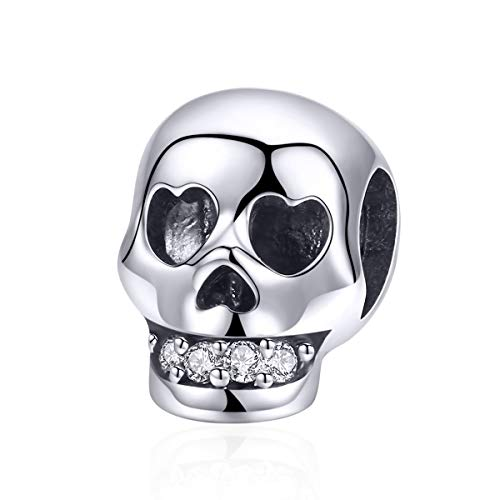 Annmors Skull Bead Charm 925 Sterling Silver-with Heart Eye and CZ Teeth Jewelry Gifts for Bracelets and Necklaces for European Women