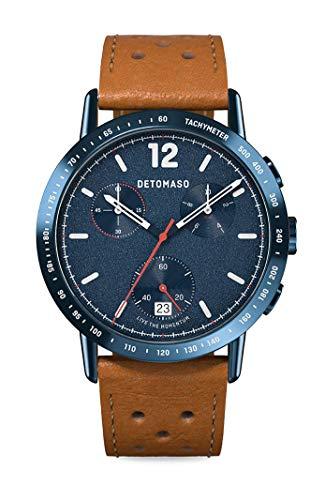 DETOMASO Adesso Chronograph Limited Edition Blue Herren-Armbanduhr Analog Quarz Lederarmband Braun