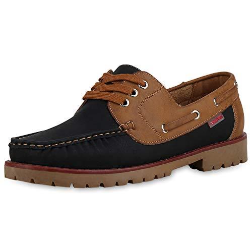 SCARPE VITA Herren Halbschuhe Bootsschuhe Leder-Optik Schuhe Schnürer Bequeme Sequelschuhe Profilsohle Freizeitschuhe 183081 Schwarz Hellbraun 42