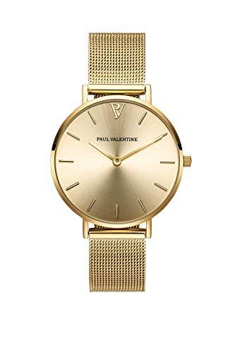 PAUL VALENTINE ® Damenuhr mit Mesh Armband - 32, 36 oder 38mm - Edle Damen Uhr mit japanischem Quarzwerk - Spritzwassergeschützt - Armbanduhr für Damen (Gold Melrose Mesh 32 mm)