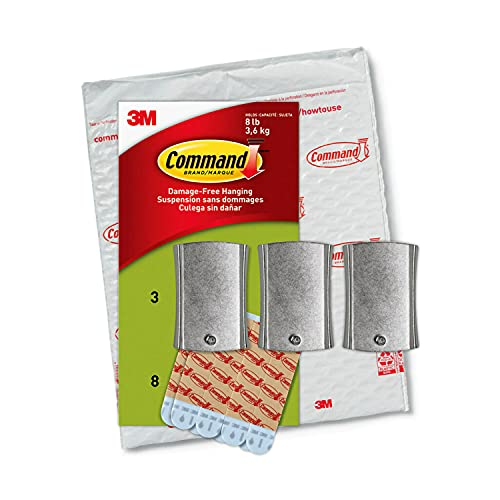 Command PH048-3NA Jumbo Universal Frame Hanger, Holds up to 8 lbs, Decorate Damage-Free, Easy to Open Packaging, Silver, 3 Hangers