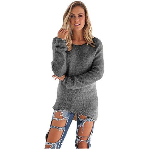Suéteres para Mujer Invierno Primavera Casual O-Cuello de Color sólido Suéteres de Manga Larga Sueltos de Talla Grande Jersey cálido Suéteres Blusa Tops