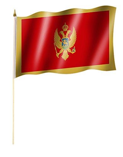 Stockflagge/Stockfahne MONTENEGRO Flagge/Fahne ca. 30 x 45 cm mit ca. 60cm Stab/Stock