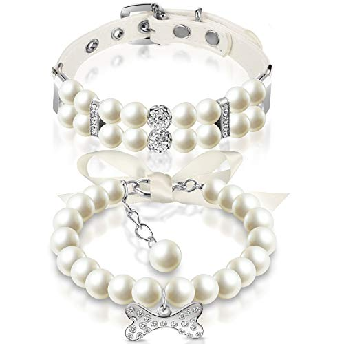 2 Piezas Set de Collar de Perlas de Perros y Collar de Perlas de Mascotas Collar de Perlas Cuero para Perro con Diamantes de Imitación Cristal Correa de Cuello de Perlas para Gatos (S)