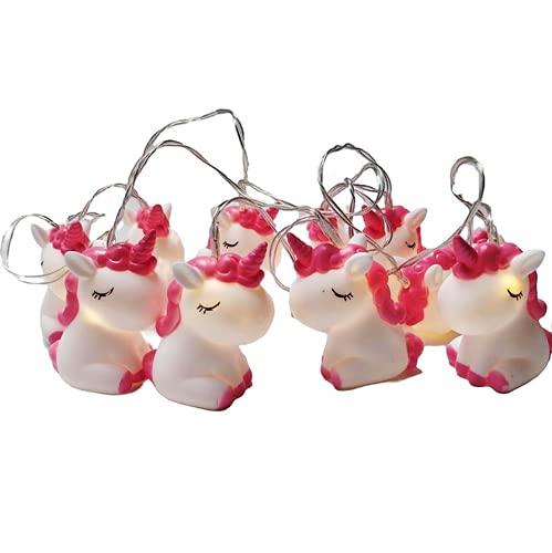 Fantasee 1,5 m 10 LED Einhorn Lichterkette für Mädchen Schlafzimmer batteriebetriebene LED Lichterkette Fantastische Lichter für Zimmer Geburtstag Party Dekoration (Einhorn)