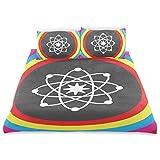 Juego de funda nórdica Modelo átomo con círculos de colores Molécula Química Biología Laboratorio de física Órbita Juego de ropa de cama decorativo de 3 piezas con 2 fundas de almohada Fácil cuidado A
