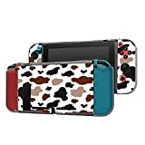 Dockable Case Compatible with Nintendo Switch Console and Joy-Con Controller, Patterned ( Texture with white cow black brown beige spot? ) Protective Case Cover with Tempered Glass Screen