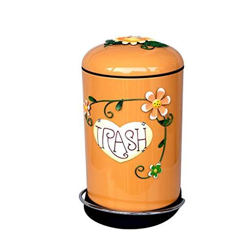 Cubo de Basura de Interior Creativo Pedal de basura Color de lata Bote de basura Dormitorio Sala de estar Caja de basura 8L Papeleras de la Cocina de la Cesta de Papel de la ( Color : Orange )