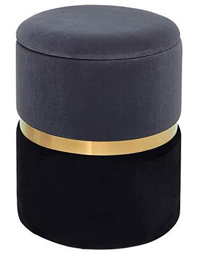 Taburete de Terciopelo con Tapa para Almacenaje Redondo Puff Baúl Asiento de Almacenamiento Otomana Elegante Decoración de Metal Gris + Negro