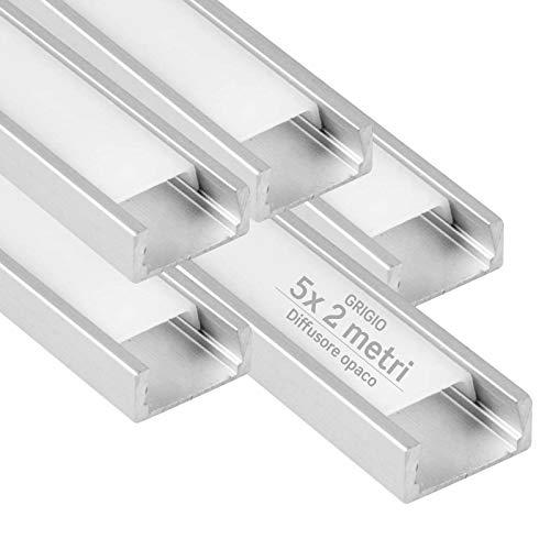5x Profili da 2 metri (10mt) in Alluminio grigio per Strisce LED Schermatura Opaca ingombro max striscia led 12.2mm - 15.5 x 5.9