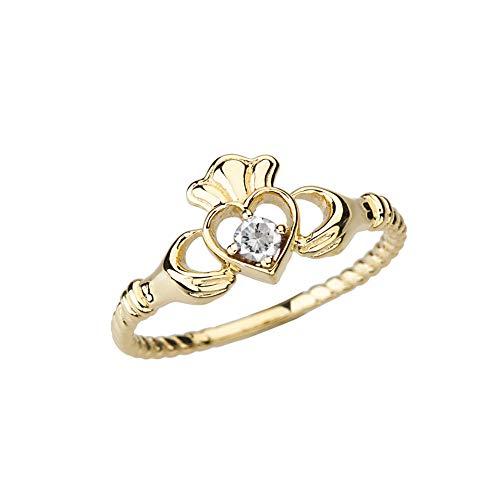 Kleine Schätze Damen Ring 10 Karat Gelbgold Diamant Solitär & Öffnen Herz Claddagh Ring