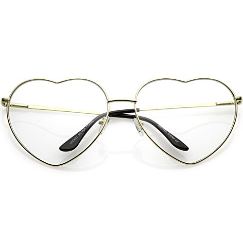 zeroUV - Oversize Metal Heart Shaped Clear Lens Eye Glasses 71mm (Gold/Clear)
