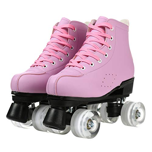 Women's Roller Skates PU Leather High-top Roller Skates Four-Wheel Roller Skates Shiny Roller Skates with Carry Bag for Girls (Pink no Flash Wheel,7)