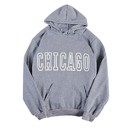 XUJY Sudadera con capucha para mujer de otoño e invierno, con letras, informal, manga larga, estilo Hip Hop, con capucha, ropa deportiva, gris, XL
