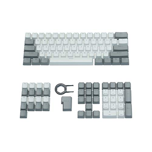 Happy Balls PBT Keycaps Backlit Cherry MX Keycap Set Doubleshot OEM Profile Translucent with Keycap Puller for US Layout 61 87 104 108 MX Switches Mechanical Keyboard(Gray White Kit)
