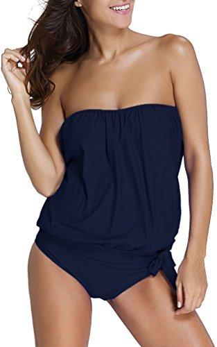 OLIPHEE Mare e Piscina Sportivo Tankini Bikini Donna Moda Due Pezzi Costume Costumi Blu Scuro XL