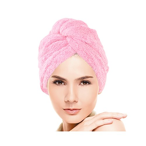 Huluwa Hair Drying Towel, Dry Hair Cap, Fast Drying Hair Towel Wrap Turban, Pink