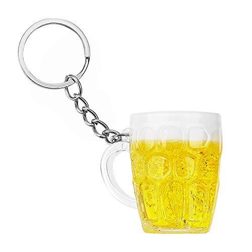 LATHEA Boccale di birra Portachiavi Resina Tazza di birra Bere Birra Pendente Portachiavi Ornamento Regalo per fidanzato Marito Cameriere