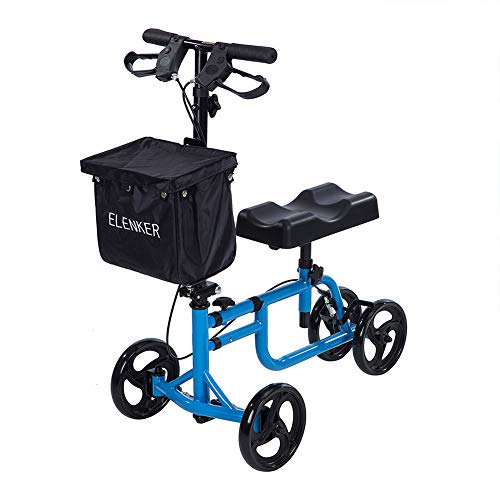 ELENKER Best Value Knee Walker Steerable Medical Scooter Crutch Alternative with Dual Braking System Blue