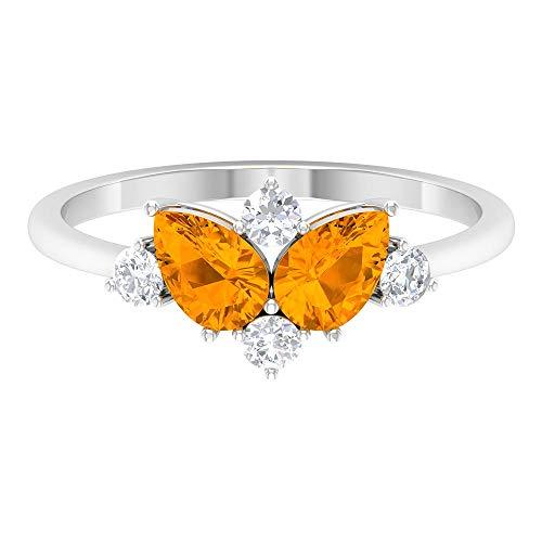 Anillo de promesa de diamantes y zafiro naranja creado en laboratorio de 1,25 quilates (calidad AAAA), oro de 14 quilates