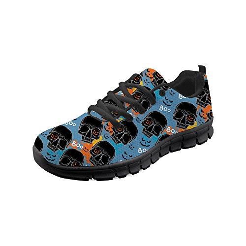 Heren zwarte schedelkop patroon sportschoenen loopschoenen sneaker ademend lichte trailloopschoenen