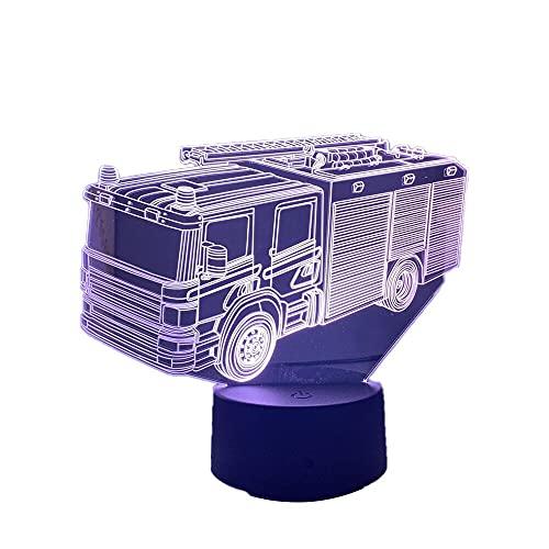 3D ilusión acrílico camión de bomberos bebé noche luz para dormitorio decoración luz gota envío Nightlight fuego lucha coche lámpara mesa