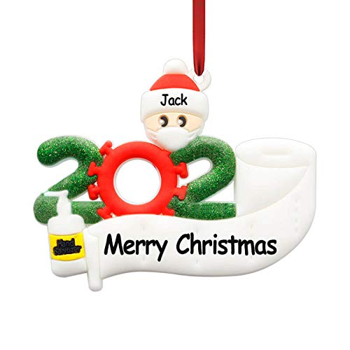 Christmas Ornament Kit - Blazze 2020 Personalized Quarantine Survivor Ornaments Family Name Customized Christmas Tree Decorating Kit Creative Gift for Family (1 People)