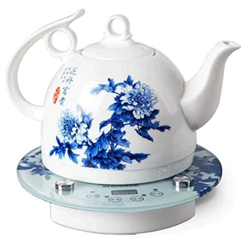 MMJU Céramique Electric Bouilloire Intelligent Contrôle Bleu Et Blanc Porcelaine Juguelle Bover Eau Rapide pour Tea Café À Soupe D'avoine 1L