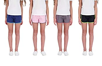 Hind Kids Girls 4-Pack Athletic and Running Activewear Shorts  Black-Blue-Gray-Lilac 14-16