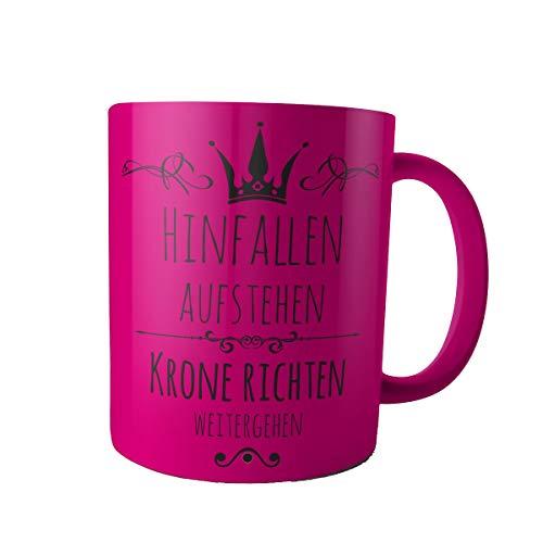 Creativgravur Tasse Kaffeebecher Kaffeetasse - Prinzessin hinfallen, aufstehen, Krone richten, weitergehen - Druck oder Gravur, Motiv:Motiv 03