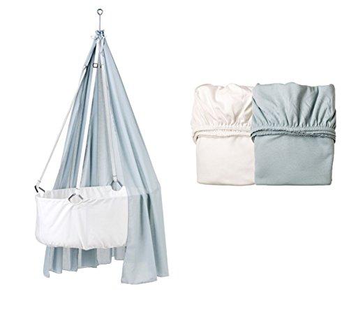 Leander Berceau Blanc avec matelas TRÄUMELAND, crochets de plafond, (voile) Misty Blue, original Lot de 2 draps housse Misty Blue ciel/blanc
