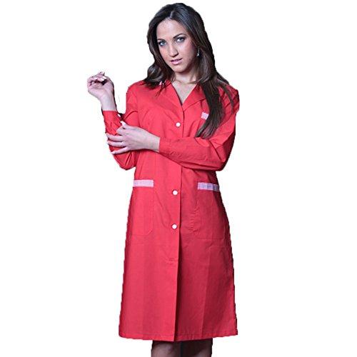 FRATELLIDITALIA Damenkittel zweifarbig, für Arbeit, Reinigung, häusliche Tätigkeiten, Fabrikarbeiten im Lebensmittelbereich XXL rot