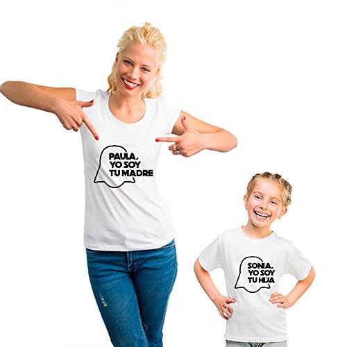 Regalo Personalizable para Madres: Pack de Camiseta para mamá + Camiseta para Hijo/a o Body para bebé Yo Soy tu Madre Personalizados con Sus Nombres