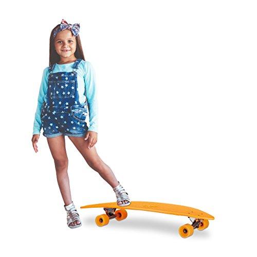 Relaxdays Longboard Cruiser 38 Zoll, ABEC 7 Skateboard mit Alu-Trucks, Retro Board mit Flex Deck für Kinder, orange