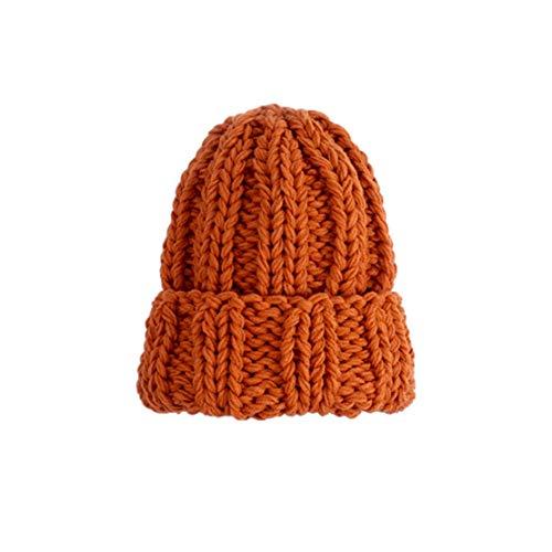 HIOD Sombrero de Punto de Invierno Mujer Gorro de Línea Gruesa Cálida Sombrero de Mujer Chica de Color Sólido Sombrero Lindo Simple,Orange