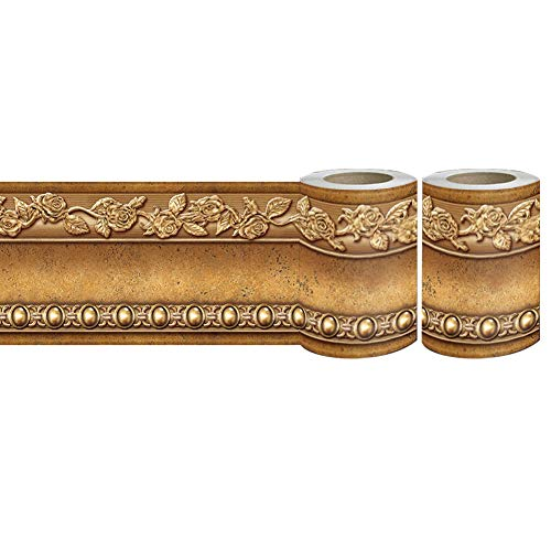 [Pack of 2] Flower Molding Peel and Stick Wall Border Easy to Apply (Gold Brown)