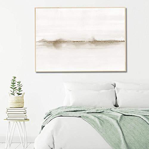 WTYBGDAN Pintura Abstracta de Acuarela Neutra Impresión de Lienzo Cuadro de Arte de Pared Horizontal Póster Minimalista Sala de Estar Dormitorio Decoración para el hogar | 50x70cm / Sin Marco