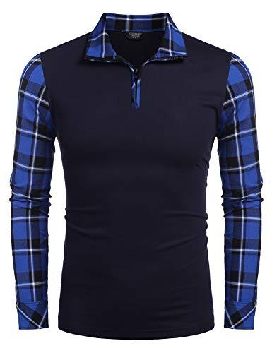 Coofandy Men's Casual Long Sleeve Plaid Shirt Zipper Polo Shirts,Large,Navy