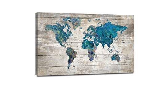 Yiijeah Abstract Watercolor Blue World Map Canvas Wall Art Prints for Living Room Office Large Teal White Watercolor World Map Picture Framed Artwork Decor for Home Bedroom Decoration 36x48