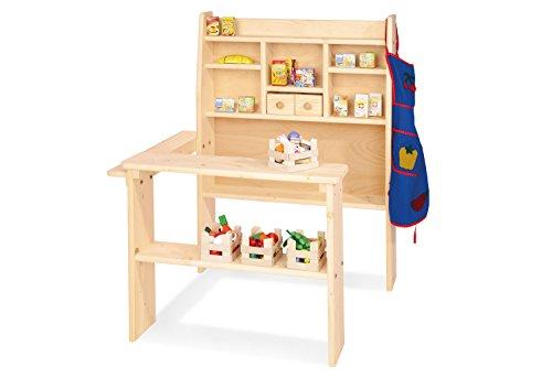 Pinolino Kaufladen Pluto, aus massivem Holz, besonders standfest, Tresen rechts oder links montierbar, für Kinder ab 2 Jahren, unbehandelt