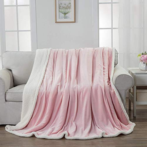 Homelike Moment Sherpa Fleece Throw Blanket Pink Warm Sherpa Bed Blankets Full Queen Size Reversible Cozy Soft Plush Lightweight Blanket for Couch Sofa Bed 90x90 Inches Pink