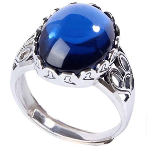 RXISHOP Anillo abierto de plata de ley 925 para mujer, con incrustaciones de zafiro, modelo femenino, anillo de dedo medio, apertura ajustable, joyería de plata, Talla única