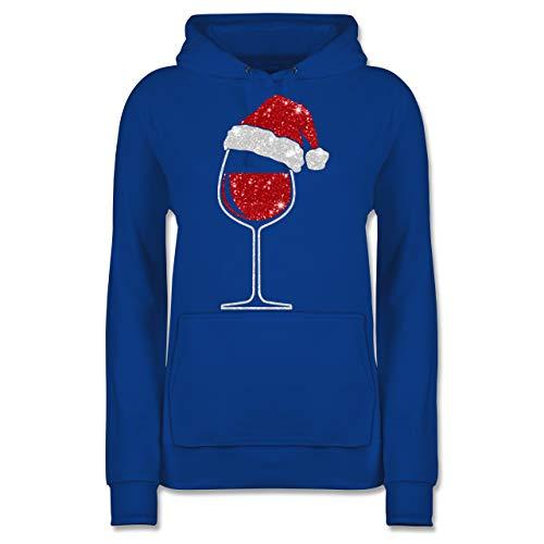 Weihnachten & Silvester - Weinglas mit Weihnachtsmütze - S - Royalblau - weinglas mit weihnachtsmütze Damen Hoodie - JH001F - Damen Hoodie und Kapuzenpullover für Frauen