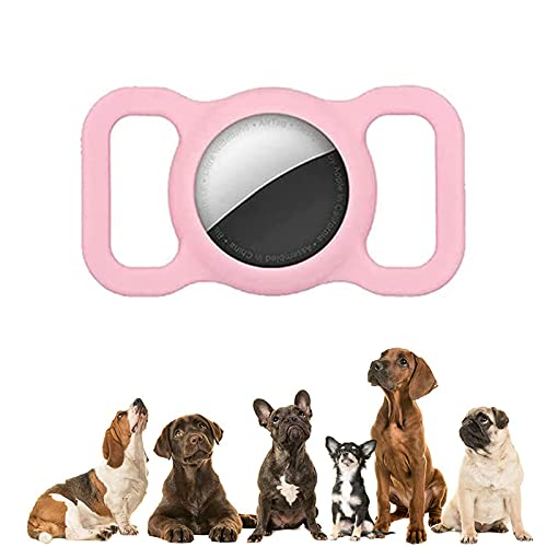 WDAC Pet Silicone Protective Case for Apple Airtag GPS Finder Dog Cat Collar Loop, Pet Loop Holder Air Tag, Pet Smart GPS Tracker Collar (Pink)