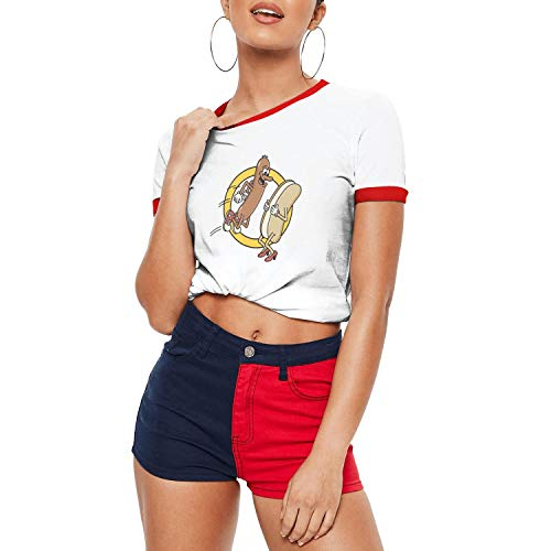 Websi Wihey Women's Short Sleeve Hot Dog Jumping Into a Bun Customized Shirts