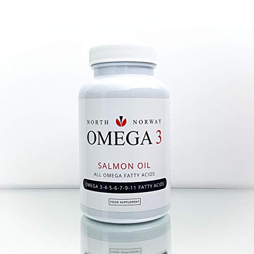 NORTH NORWAY - Omega 3 Capsules, DPA, EPA, DHA, 90-Salmon Softgels, 1 000 mg. The red Colour of The Fish Oil is Caused by The Natural antioxidant, astaxanthin.