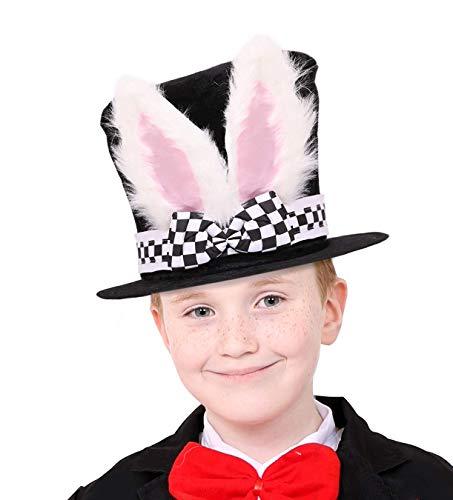 I LOVE FANCY DRESS Accesorio DE Disfraz DE Alice'S Wonderland White Rabbit Hat para NIÑOS. Conejo Blanco Sombrero DE Copa Negro con Banda AJEDREZADO Y Lazo, Y ESPONJOSAS Orejas DE Conejo Blanco