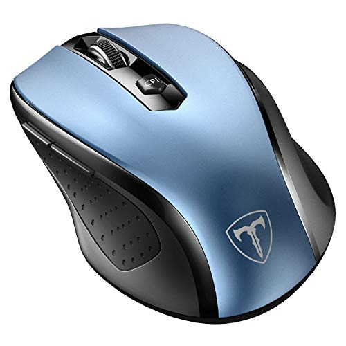VicTsing MM057 2.4G Wireless Portable Mobile Mouse Optical Mice with USB Receiver, 5 Adjustable DPI Levels, 6 Buttons for Notebook, PC, Laptop, Computer - Blue