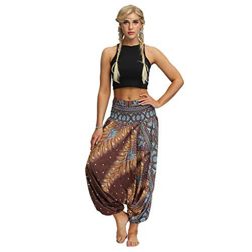 riou Mujer Pantalón Palazzo de Pierna Ancha Casual Estampado Floral Baggy Pantalones de Yoga Sueltos Mujer Harem Boho del Lazo del Pavo Real Flaral Funky